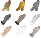 Praying Hands. Hand Drawn Praying Hands, 2 variations with different shading and color combinations Royalty Free Stock Photography