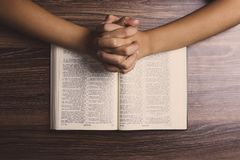 Praying Hands With Holy Bible royalty free stock photo