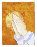 Praying hands illustration stock photo