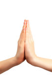 Praying hands. Isolated on white royalty free stock photos