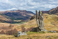 Praying hands of Mary, Glen Lyon. 'Praying Hands of Mary' or 'Fionn's Rock' (said to be split by Fingal's arrow) in stock photos