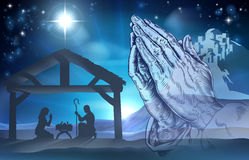 Praying Hands Nativity Scene Stock Images