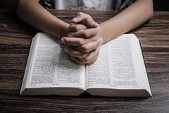 Praying Hands With Holy Bible royalty free stock photos
