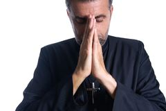 Praying hands priest portrait of male stock image
