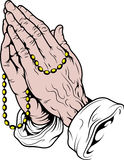 Praying hands with rosary Royalty Free Stock Photography