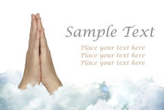 Praying Hands with Sample Text Royalty Free Stock Photography