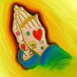 Praying Hands Whimsical Painting Royalty Free Stock Photography