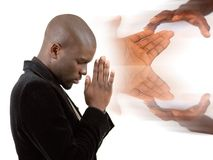 Praying for Help. This is an image of a businessman praying for success. This image can be used to represent Praying for Help Royalty Free Stock Photo