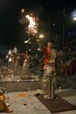 Praying with Holy Diyas Royalty Free Stock Photography