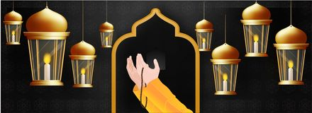 Free Praying Human Hands In Front Of Mosque Door And Hanging Illuminated Lanterns Decorated On Black Islamic Pattern Background. Stock Photography - 148309152