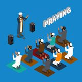 Praying In Islam Isometric Composition. With religious leader and muslims on mats on blue background vector illustration Stock Images