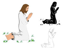 Praying Jesus Christ. An Illustration of Jesus Christ kneeling hands together (line art, silhouette with colored drawing royalty free illustration