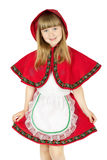 Praying little girl in red hood costume on the white background Stock Photography