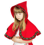 Praying little girl in red hood costume on the white background Royalty Free Stock Image