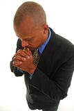 Praying man. African American man praying, isolated on white Stock Images