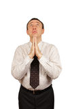 Praying man. Over white background royalty free stock photography