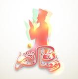 Praying Man with Arabic text for Ramadan. Creative glossy illustration of praying Muslim Man with Arabic Islamic Calligraphy of text Ramadan Kareem for Holy Royalty Free Stock Photography