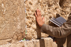 The praying man. The praying with a book in his hand leaning against the Wailing Wall Royalty Free Stock Photography