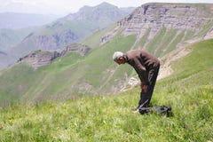 Praying man bowing Royalty Free Stock Photo