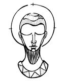 Praying man. Hand drawn vector illustration or drawing of a praying man Stock Image