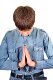 Praying Man in Handcuffs Royalty Free Stock Image