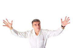 Praying man isolated. Royalty Free Stock Photography
