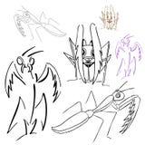 Praying Mantis Drawings Royalty Free Stock Photo