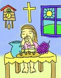 Praying Before Meal Christian Drawing Illustration Royalty Free Stock Images