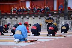 The praying men in the Shuri castle, Okinawa Stock Photos