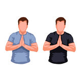 Praying men silhouette. Illustration of set of two male silhouettes praying on white background Stock Photo