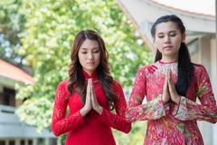 Praying moment Stock Images