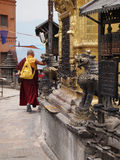 Praying buddhist monk Royalty Free Stock Photo