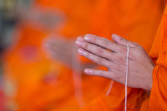 Praying monk hand Royalty Free Stock Image