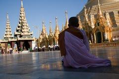 Praying monk at Shwedagon pagoda stock image