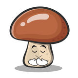 Praying mushroom character cartoon Stock Images