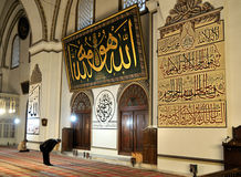 Praying muslim in green mosque Royalty Free Stock Photos