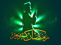Praying Muslim Man for Ramadan celebration. Creative glowing green illustration of a Religious Muslim Man reading Namaz (Islamic Prayer) with golden Arabic