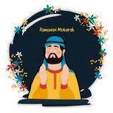 Praying Muslim Man for Ramadan celebration. Royalty Free Stock Photography