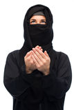 Praying muslim woman in hijab over white Royalty Free Stock Photography