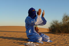 Praying Nomad. A nomad kneels in the sands of the desert of Algeria near a small bush to pray facing the setting sun Stock Photography