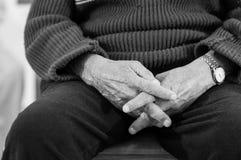 Praying old hands Stock Photos
