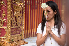 Praying and Paying Respects at Doi Suthep Temple Royalty Free Stock Photos