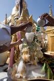 Praying people at Schwedagon pagoda Stock Image