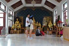 Praying. People in Thailand temple Royalty Free Stock Photo