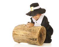 Praying Pilgrim stock image