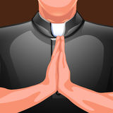Praying priest hands. Illustration of praying priest partly viewed on brown background Stock Images