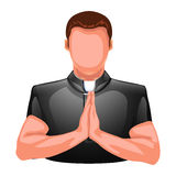 Praying priest silhouette Stock Image