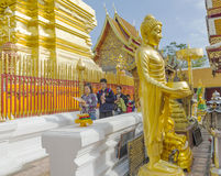 Are praying for a religious ceremony in thai temple during touri Royalty Free Stock Image