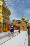 Are praying for a religious ceremony in thai temple during touri Stock Photo