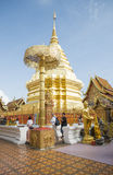 Are praying for a religious ceremony in thai temple during touri Royalty Free Stock Photo